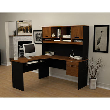 Bestar HomePro 92000 L-Shaped desk, Tuscany Brown/Black