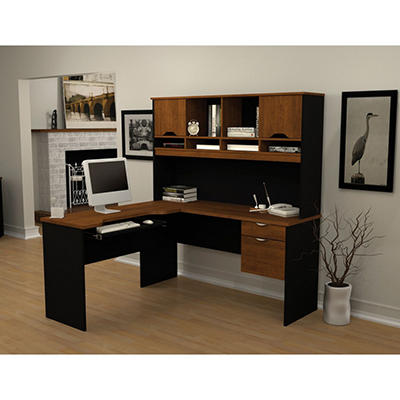 Bestar HomePro 92000 L-Shaped desk - Tuscany Brown & Black