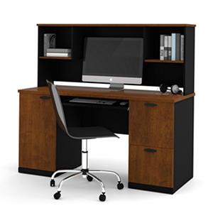 Bestar Hampton HomePro 69000 Desk with Hutch, Tuscany Brown/Black