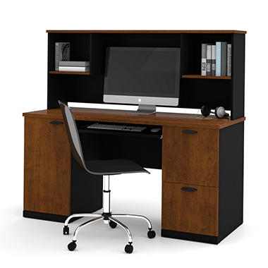HomePro 69000 Credenza and Hutch Kit - Tuscany Brown and Black