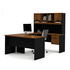Bestar HomePro 92000 U-Shaped desk, Tuscany Brown Black