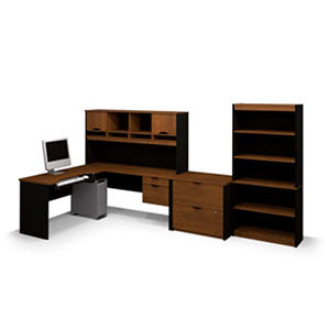 Bestar Innova HomePro 92000 L-shaped Desk with Storage, Tuscany Brown/Black
