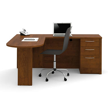 Bestar Embassy OfficePro 60000 L-Shaped Desk, Tuscany Brown