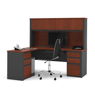 OfficePro 99000 L-Shaped Workstation - Bordeaux & Graphite