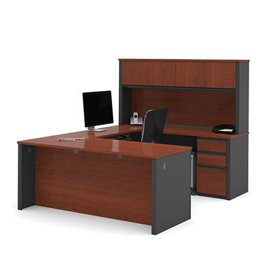 Bestar Prestige + OfficePro 99000 6-Drawer U-Shaped Desk with Hutch, Bordeaux/Graphite
