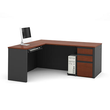 Bestar Prestige + OfficePro 99000 3-Drawer L-Shaped Desk, Bordeaux/Graphite