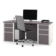 Bestar - OfficePro 93000 Executive Desk - Slate & Sandstone