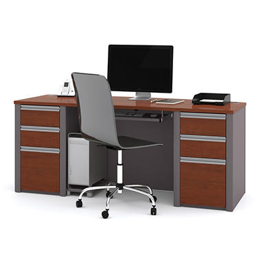 Bestar - OfficePro 93000 Executive Desk - Bordeaux & Slate