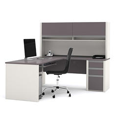 Bestar OfficePro 93000 L-Shaped Desk with Hutch/Credenza, Slate/Sandstone