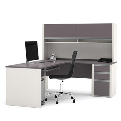 Bestar - OfficePro 93000 L-Shaped desk - Slate and Sandstone