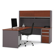 Bestar OfficePro 93000 L-Shaped Desk with Hutch/Credenza, Bordeaux/Slate