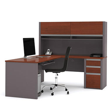 Bestar OfficePro 93000 L-Shaped Desk, Bordeaux/.Slate