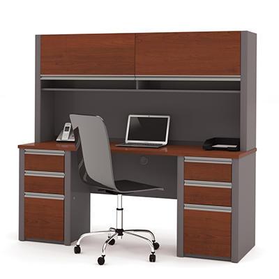 Bestar - OfficePro 93000 Credenza & Hutch kit - Bordeaux & Slate