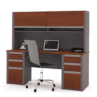 Bestar - OfficePro 93000 Credenza & Hutch kit - Bordeaux & Slate