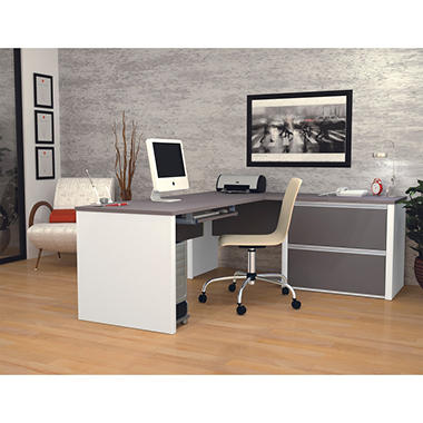 Bestar - OfficePro 93000 L-Shaped desk - Slate & Sandstone