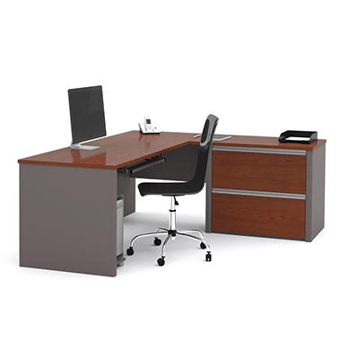 Bestar Connexion OfficePro 93000 2-Drawer L-Shaped Desk, Bordeaux/Slate