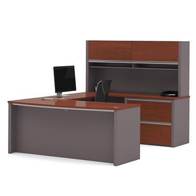 Bestar - OfficePro 93000 U-Shaped desk with Hutch - Bordeaux & Slate