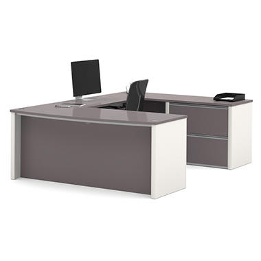 Bestar - OfficePro 93000 U-Shaped desk - Slate & Sandstone