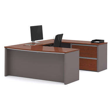 Bestar Connexion OfficePro 93000 2-Drawer U-Shaped Desk, Bordeaux/Slate