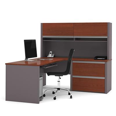 Bestar - OfficePro 93000 L-Shaped desk - Bordeaux & Slate