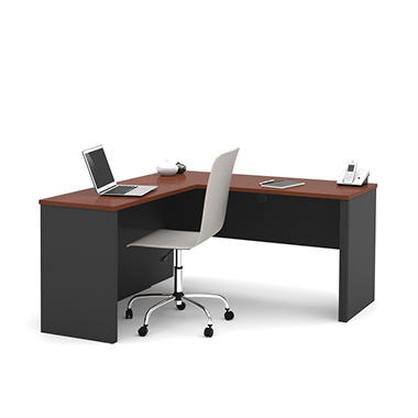 Bestar - OfficePro 99000 L-Desk - Bordeaux and Graphite