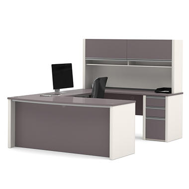 Bestar Connexion OfficePro 93000 3-drawer U-Shaped Desk with Hutch, Slate/Sandstone