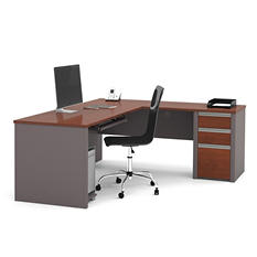 Bestar Connexion OfficePro 93000 3-Drawer L-Shaped Desk, Bordeaux/Slate
