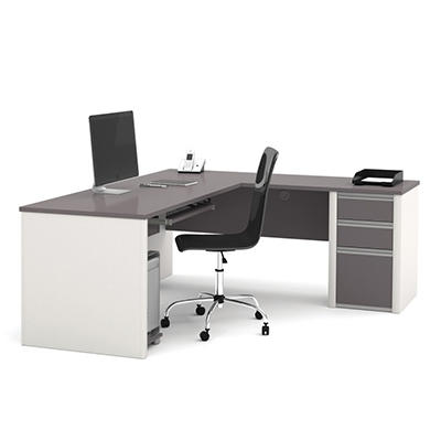 Bestar OfficePro 93000 L-Shaped desk, Slate/Sandstone