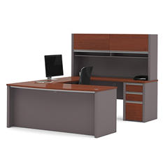 Bestar Connexion OfficePro 93000 3-drawer U-Shaped Bow-Front Desk with Hutch, Select Color