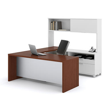 Bestar - OfficePro 120000 U-Shaped kit - White & Cognac Cherry