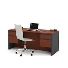 Bestar Prestige + OfficePro 99000 Executive Desk, Bordeaux/Graphite