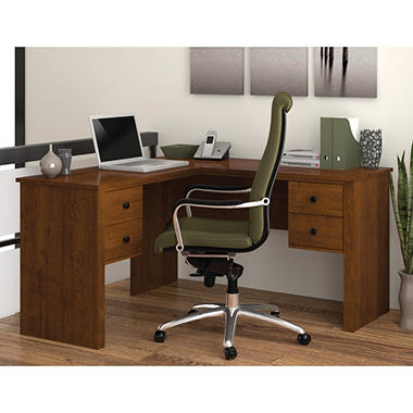 Bestar - HomePro 45000 L-Shaped desk - Tuscany Brown and Black