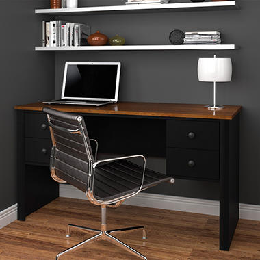 Bestar HomePro 45000  Executive Desk, Tuscany Brown/Black