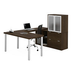 Bestar i3 OfficePro 150000 U-Shaped Desk with Frosted Glass Doors, Select Color