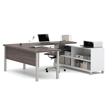 bestar pro linea officepro 120000 u shaped desk white bark gray sam 39 s club. Black Bedroom Furniture Sets. Home Design Ideas