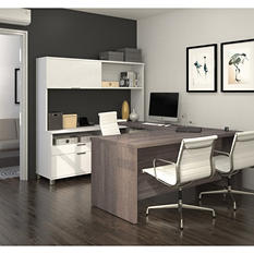Bestar Pro-Linea OfficePro 120000 U-Shaped Desk with Hutch and Drawers, White/Bark Gray