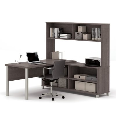 Bestar Pro-Linea OfficePro 120000 L-Shaped Desk with Hutch, Select Color