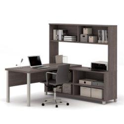 Bestar Pro-Linea OfficePro 120000 L-Shaped Desk with Hutch