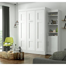 Edge by Bestar Wall Bed with One Storage Unit, White
