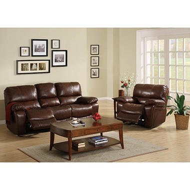 Carlson Leather Sofa & Recliner Set