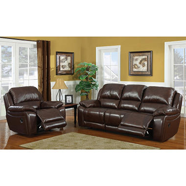 Reagan Leather Motion Sofa Recliner Set By Dorel Fine Furnishings Sam 39 S Club