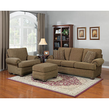 Aubrey Stationary Sofa and Recliner Set