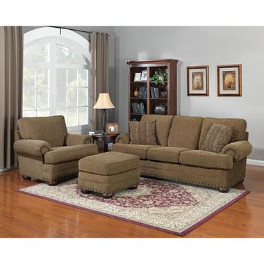 Aubrey Stationary Sofa and Recliner Set