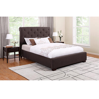 Kingston Queen Upholstered Bed - Chocolate