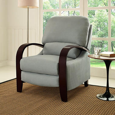 Peyton Bent Arm Recliner - Grey Microfiber