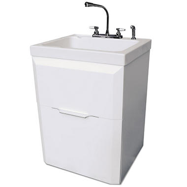 Utility Sink, Faucet and Cabinet