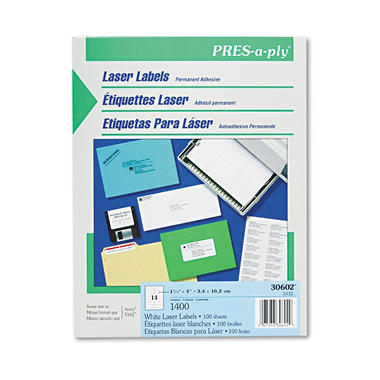 "Avery Pres-A-Ply - Laser Address Labels, 1-1/3 x 4"", White - 1,400 Labels"
