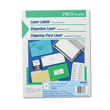 "Avery Pres-A-Ply - Laser Address Labels, 2 x 4"", White - 1,000 Labels"