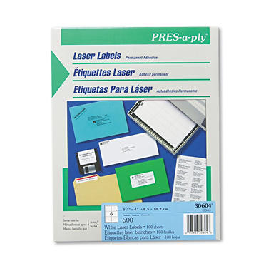 "Avery Pres-A-Ply - Laser Shipping Labels, 3-1/3 x 4"", White - 600 Labels"