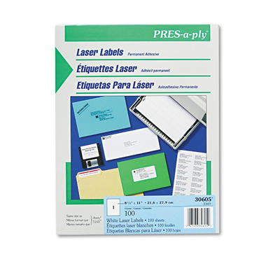 Avery Pres-A-Ply - Laser Labels, Full Sheet, White - 100 Labels